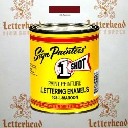 1 Shot Lettering Enamel Paint Maroon 108L- Quart