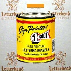1 Shot Lettering Enamel Paint Chrome Yellow 134L - Pint