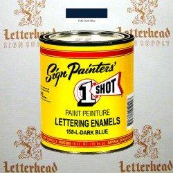 1 Shot Lettering Enamel Paint Dark Blue 158L - Pint