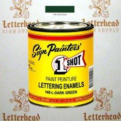 1 Shot Lettering Enamel Paint Dark Green 148L - Pint